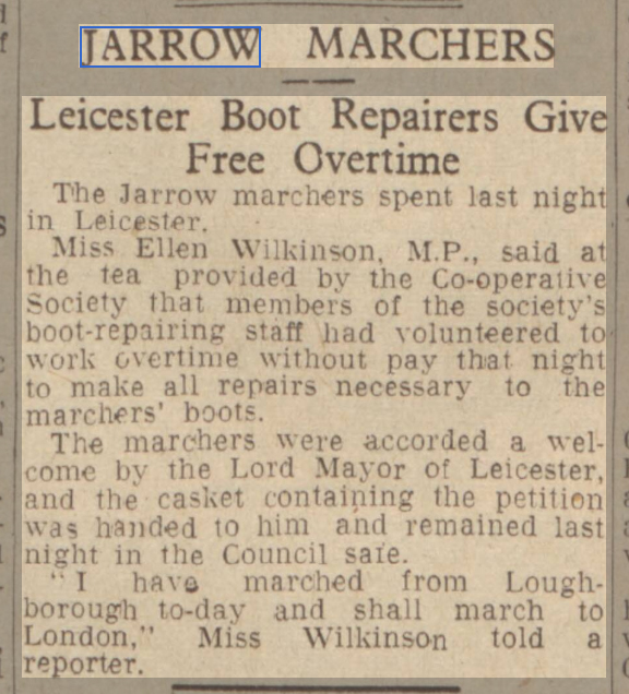 newspaper report on the jarrow marchers