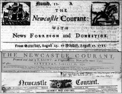 Comparison of Newcastle Courant Mastheads