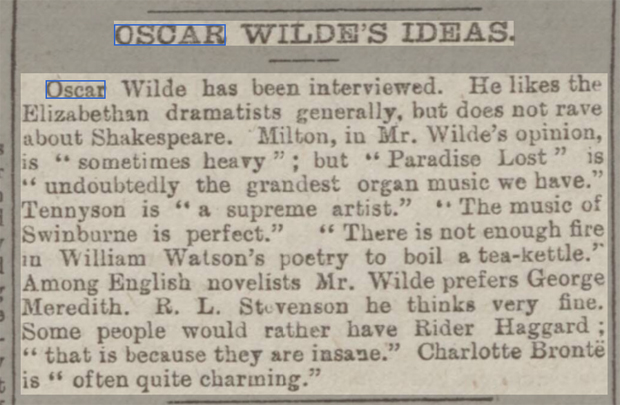 newspaper reports report on the ideas of Oscar wilde
