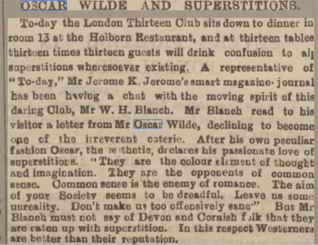 newspaper reports report on the superstitions of Oscar wilde