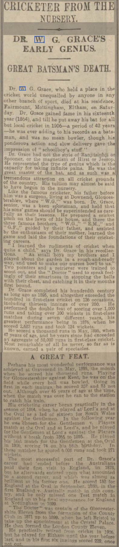 newspaper report on the death of WG Grace