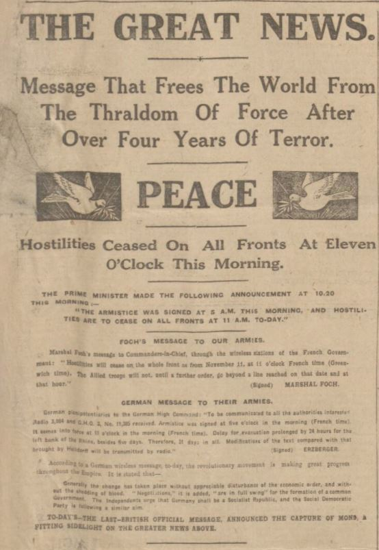 Armistice Day announcement