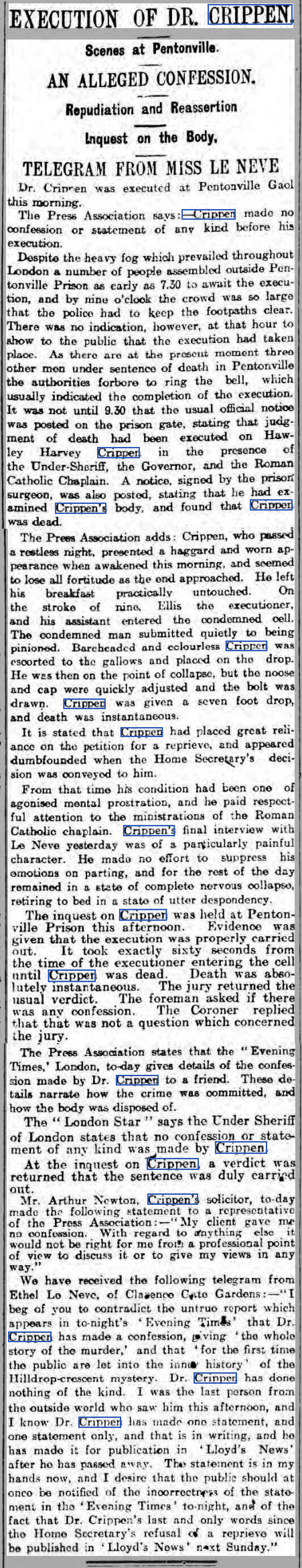 newspaper report on the execution of dr crippen
