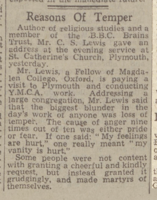 newspaper story about CS Lewis