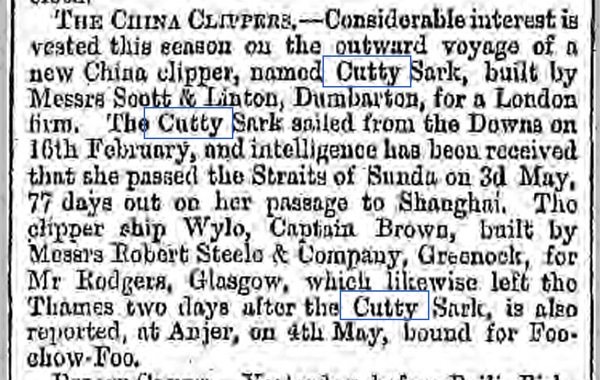 newspaper report on the cutty sark tea clipper