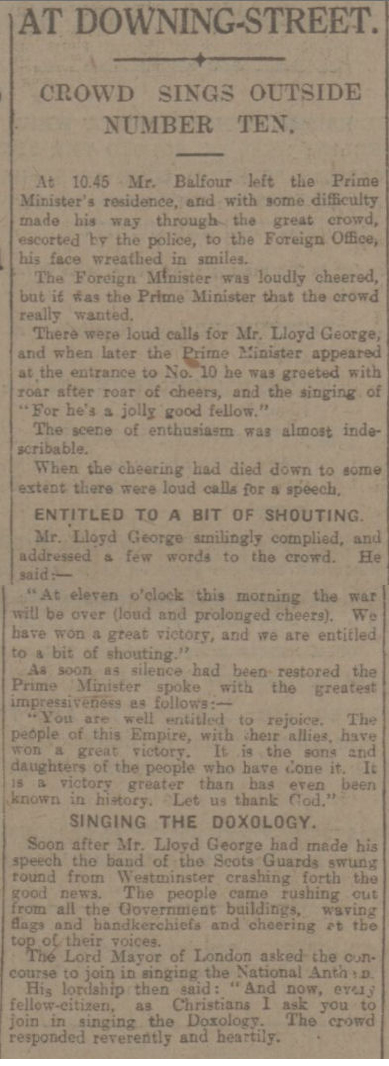 newspaper story about the 1918 Armistice