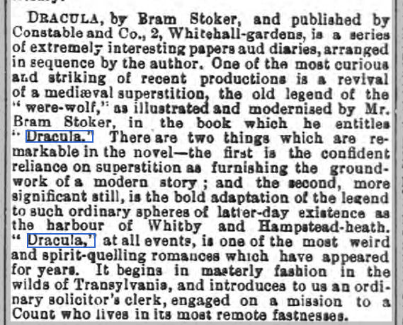 newspaper review of the Dracula novel by Bram Stoker