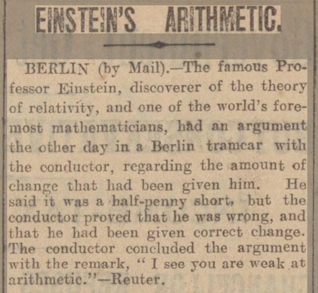 newspaper story about Einstein arguing with a Berlin tram conductor