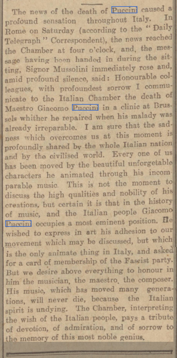 newspaper report on the death of Puccini