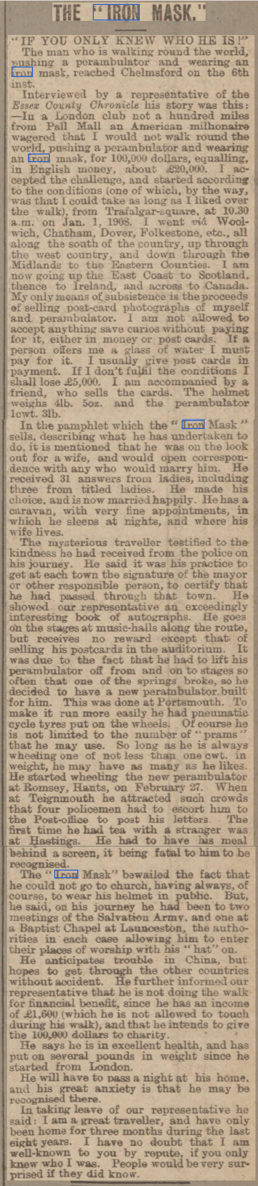 newspaper report about the man who walked round the world in an iron mask