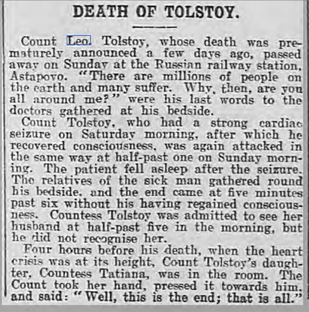 newspaper report on the death of Leo Tolstoy