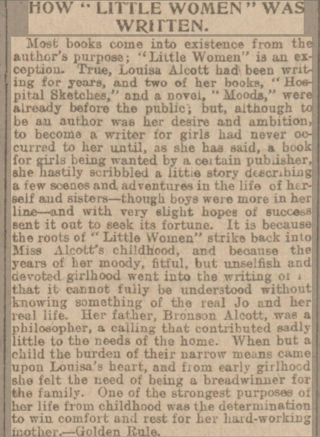newspaper report about Louisa Alcott and the writing of Little Women