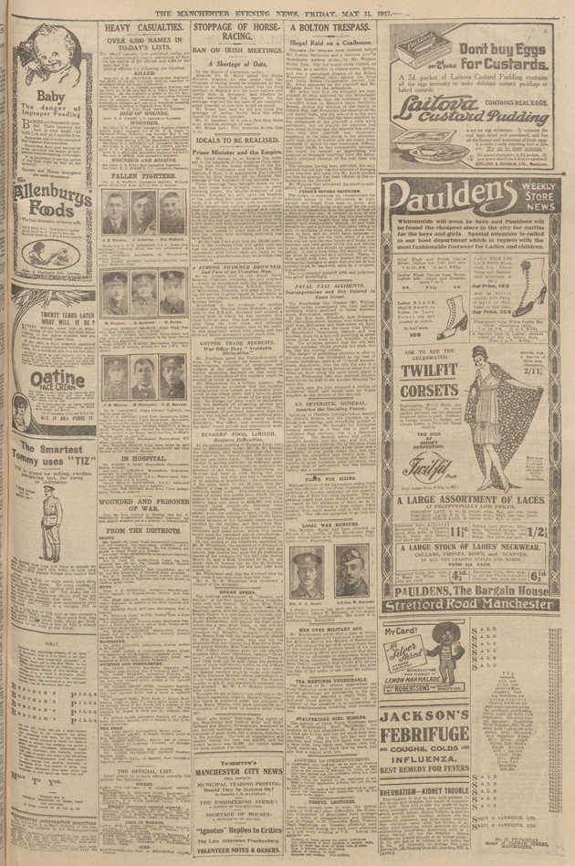 front cover of the Manchester evening news of 11 may 1917