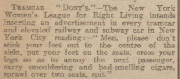 newspaper report about good manners and etiquette on new york tramcars