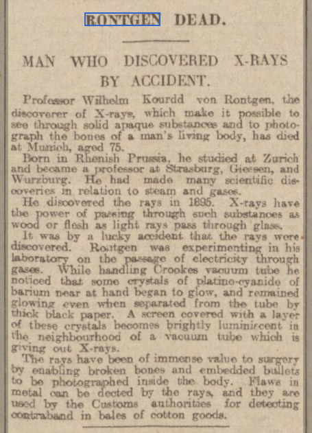 newspaper story about the discovery of x-rays
