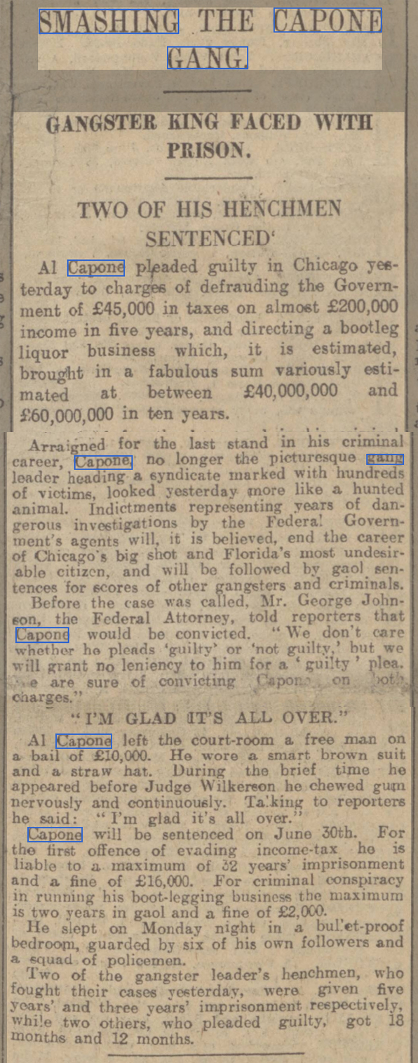 newspaper story about Al Capone