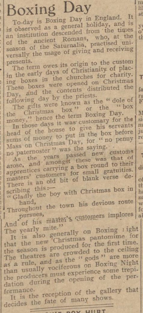 newspaper story about the origins and traditions of boxing day