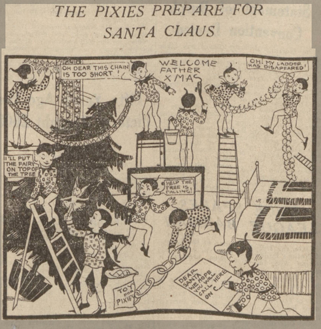newspaper image of the pixies getting ready for Santa  Claus