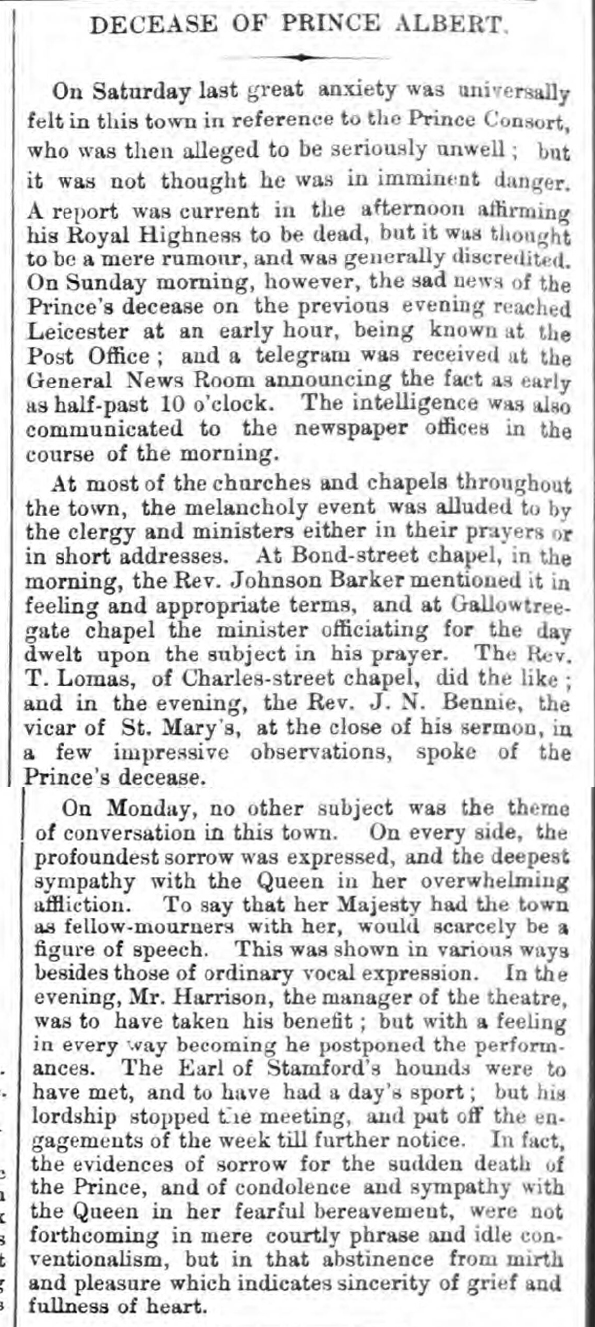 newspaper story about the death of prince albert