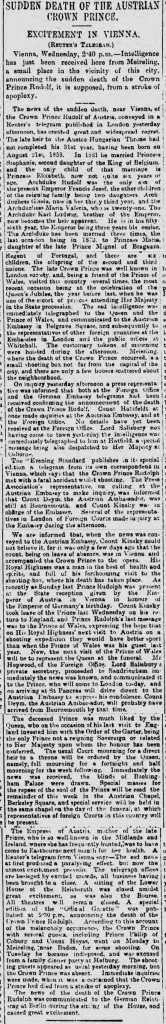 Newspaper article on deaths of Archduke Rudolf and Baroness Mary Vetsera