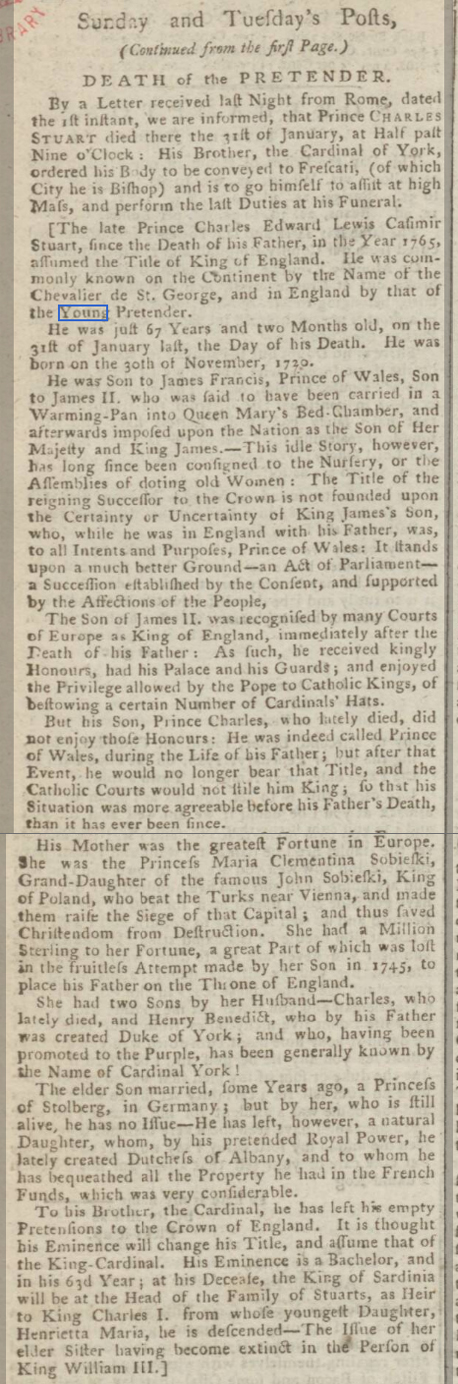 historical newspaper story about the death of bonnie prince