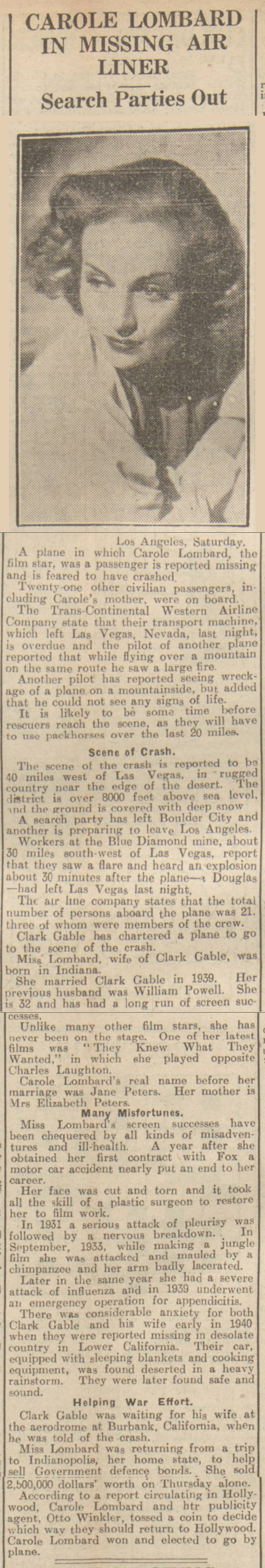 newspaper story about the death of carole lombard