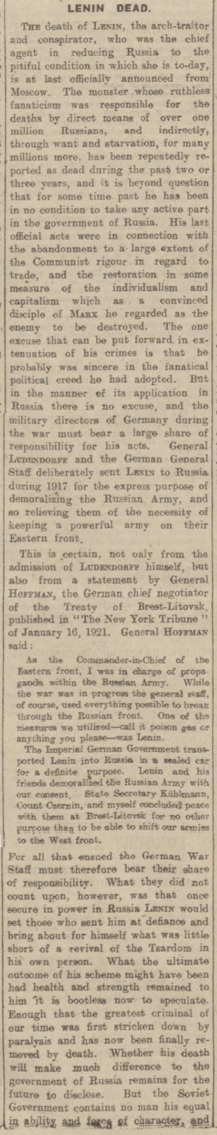 newspaper story about the death of lenin