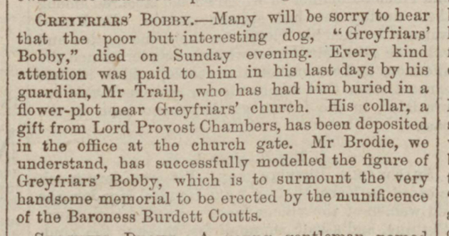 newspaper story about greyfriars bobby