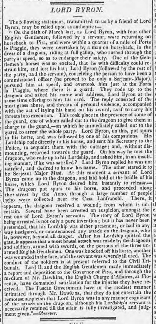 newspaper story about lord byron