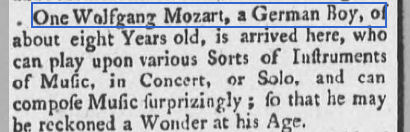 1930 newspaper report about mozart visiitng london in 1765