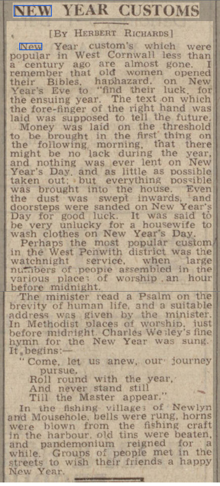 newspaper story about the history, origins and  traditions of New Year