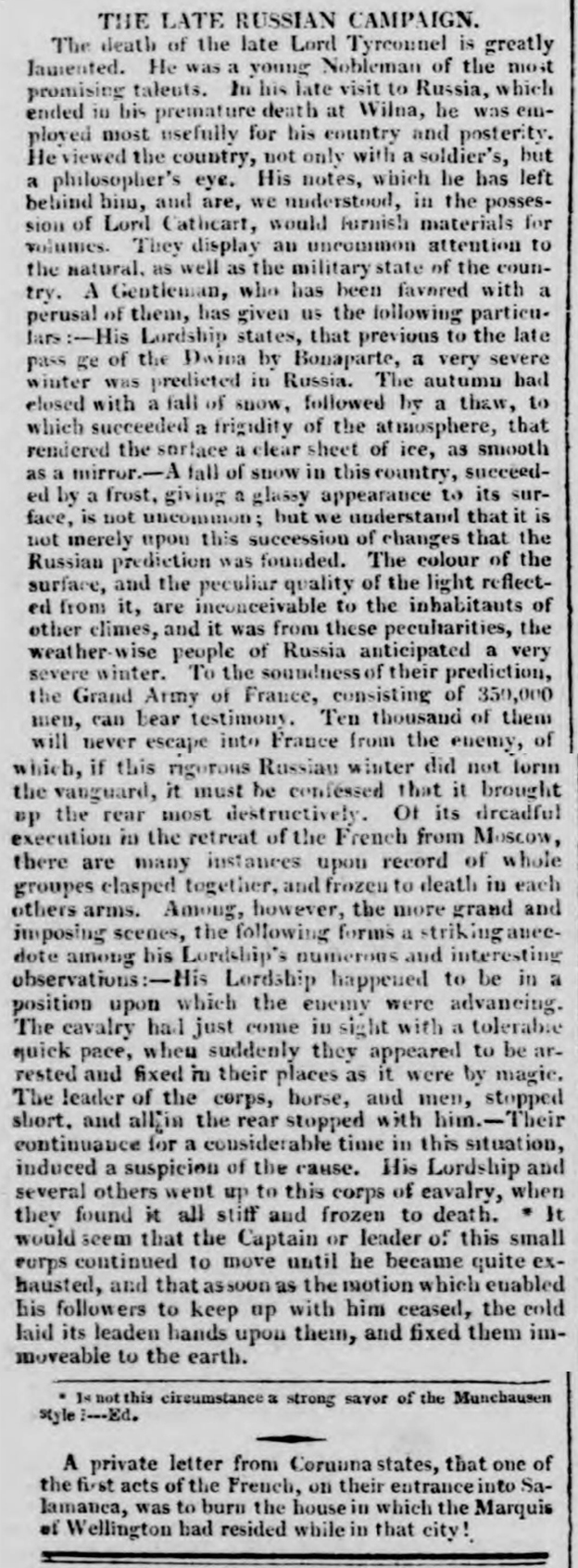 newspaper story from 1813 about napoleon's retreat from moscow