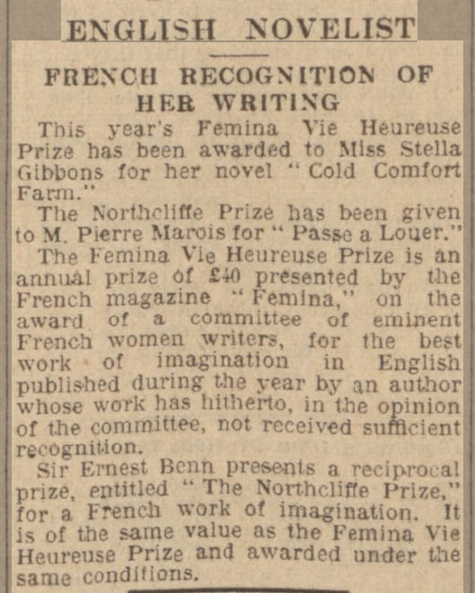 newspaper story about Stella Gibbons and Cold Comfort Farm