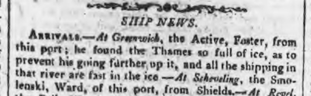 newspaper story about the thames freezing in 1814