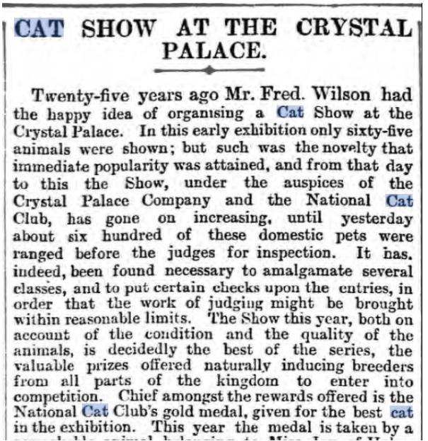 article on the origins and history of cat shows