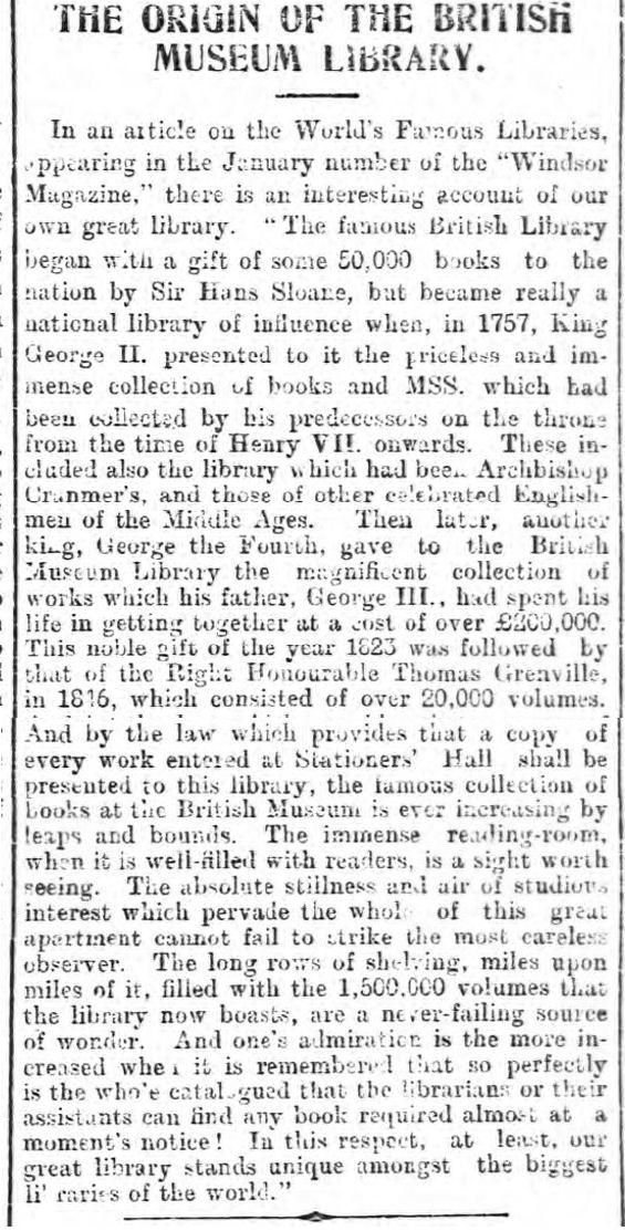 historical newspaper story from 1900 about the origins of the british library