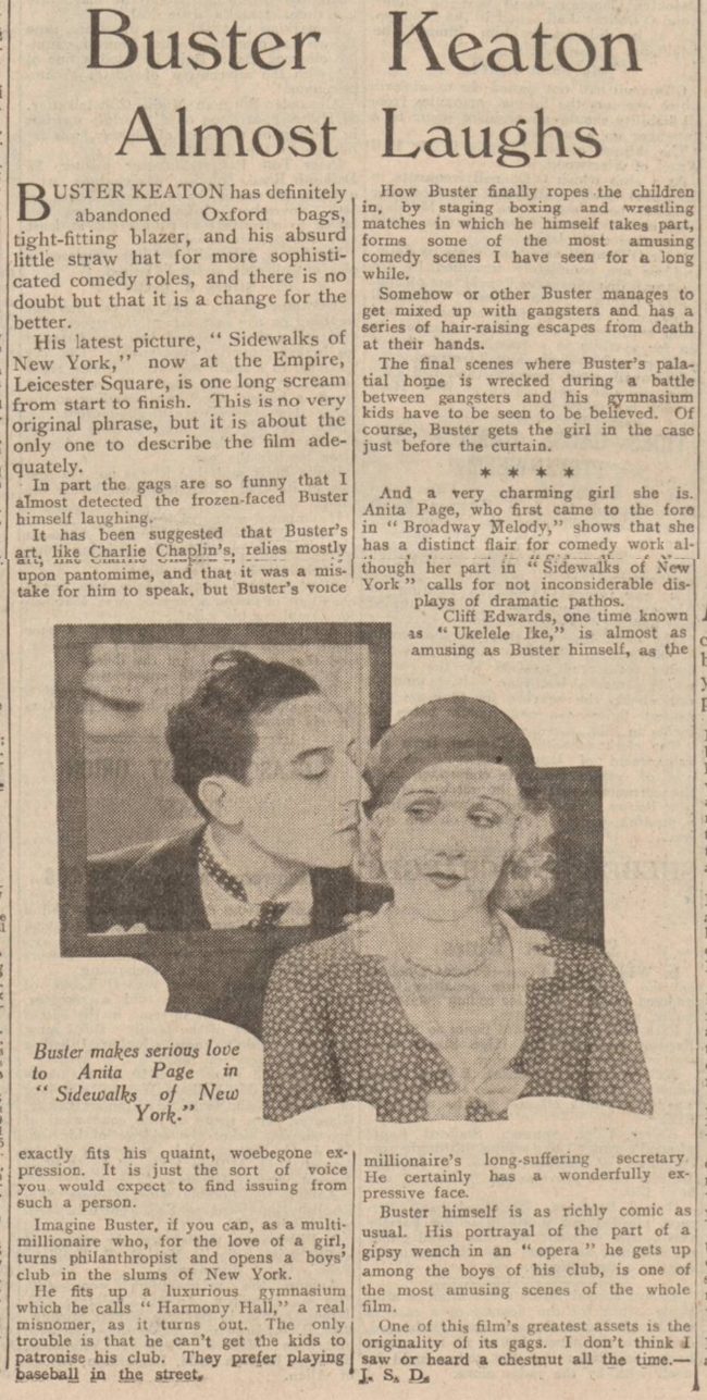 historical newspaper story about buster keaton
