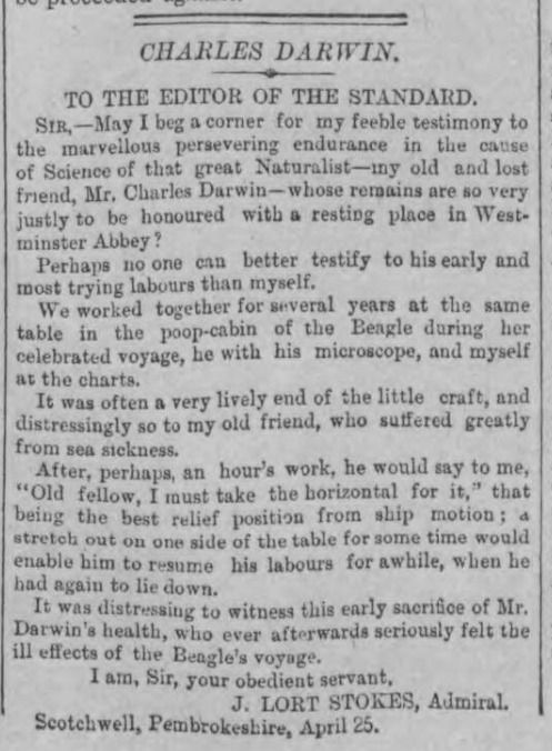 historical newspaper story from 1882 about charles darwin