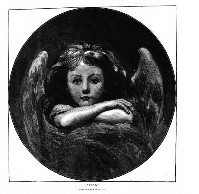 historical newspaper image of Cupid, winged messenger of love