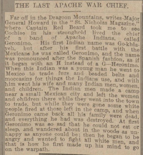 historical newspaper about geronimo