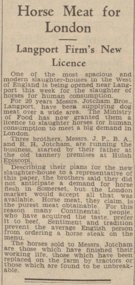 historical newspaper story from 1948 about the demand for horse meat in london in 1948