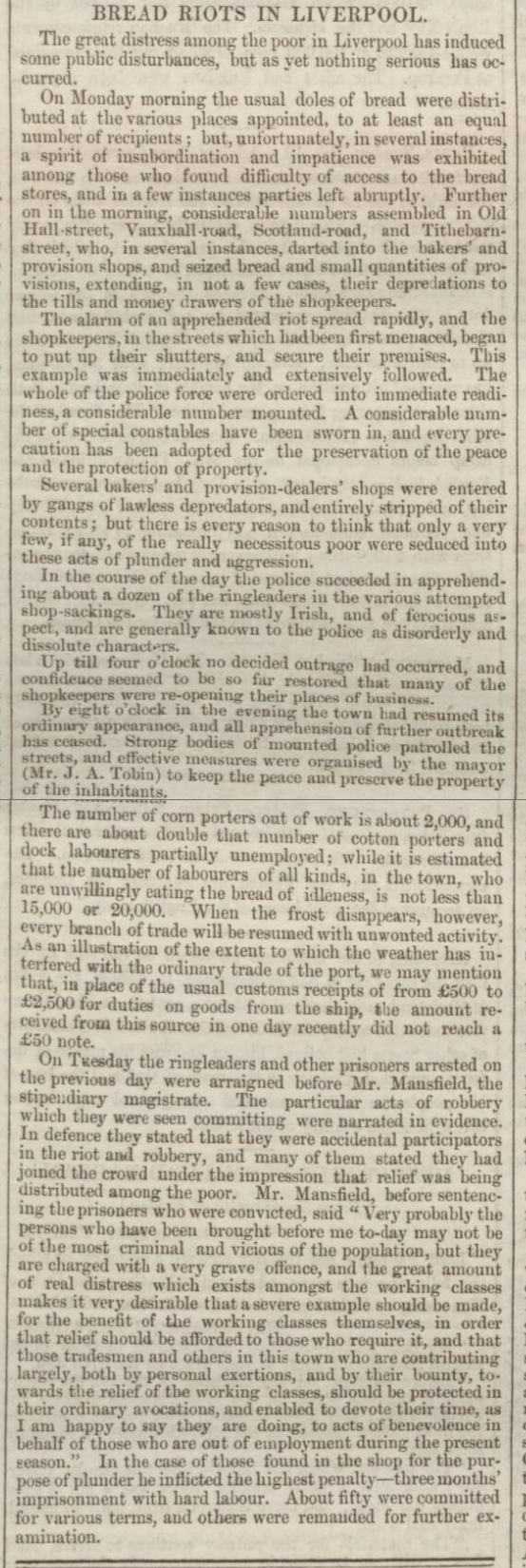 historical newspaper story about the Liverpool bread riots of 1855