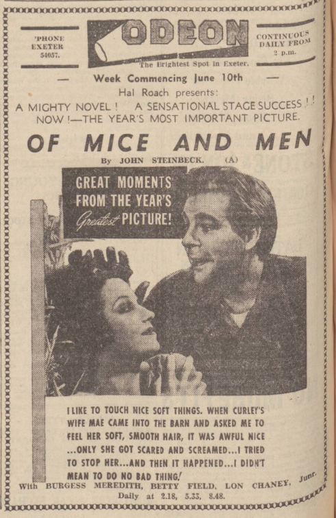 historical newspaper advert for john Steinbeck and if mice and men 1855