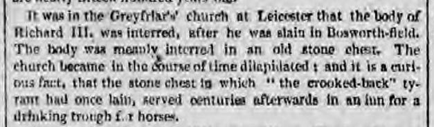 historical newspaper story from 1825 about the burial place of Richard III
