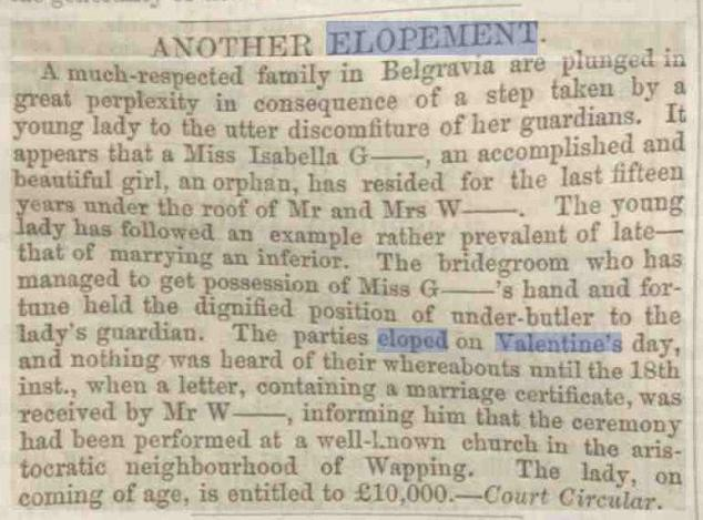 historical newspaper story from 1882 about valentines day - Valentine Stories
