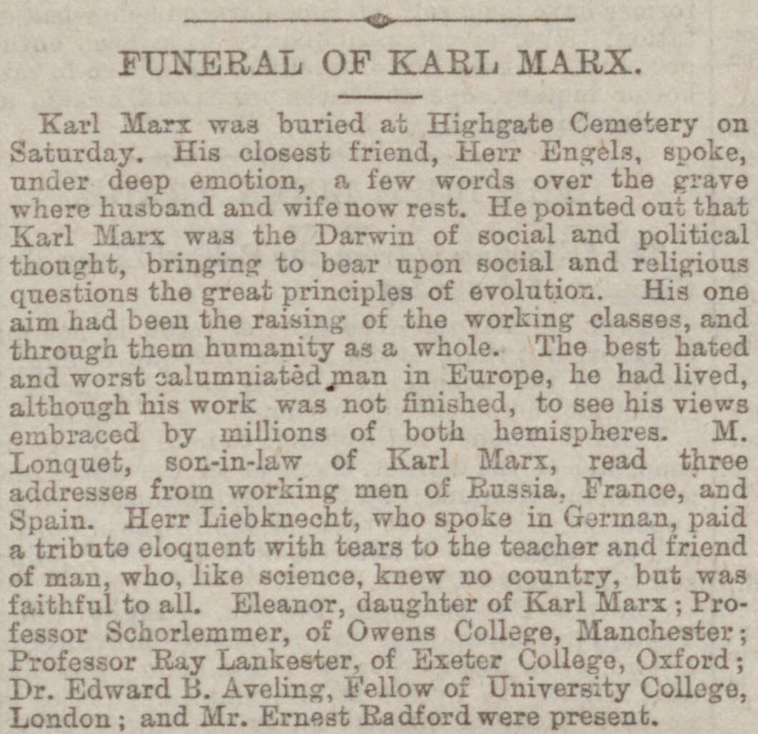 funeral of Karl Marx