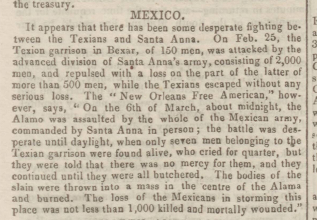 news story about the battle of the alamo