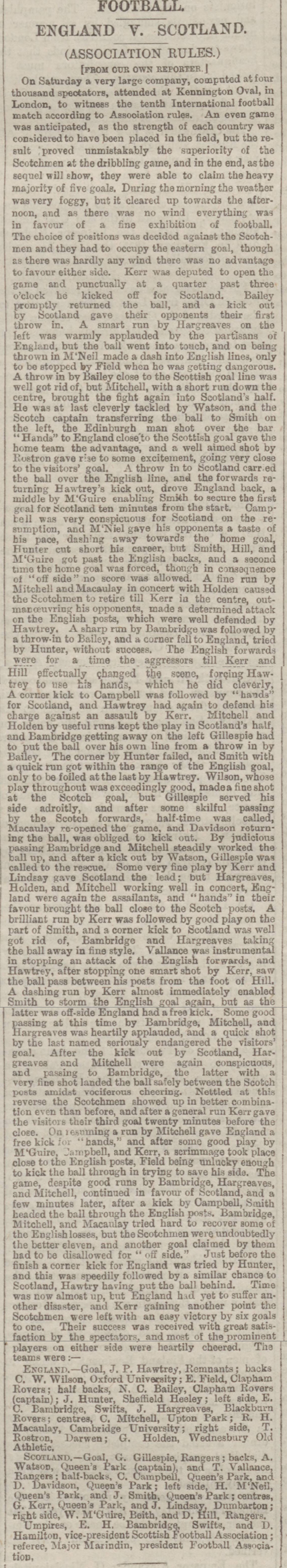 newspaper report on the 1881 football international between england and