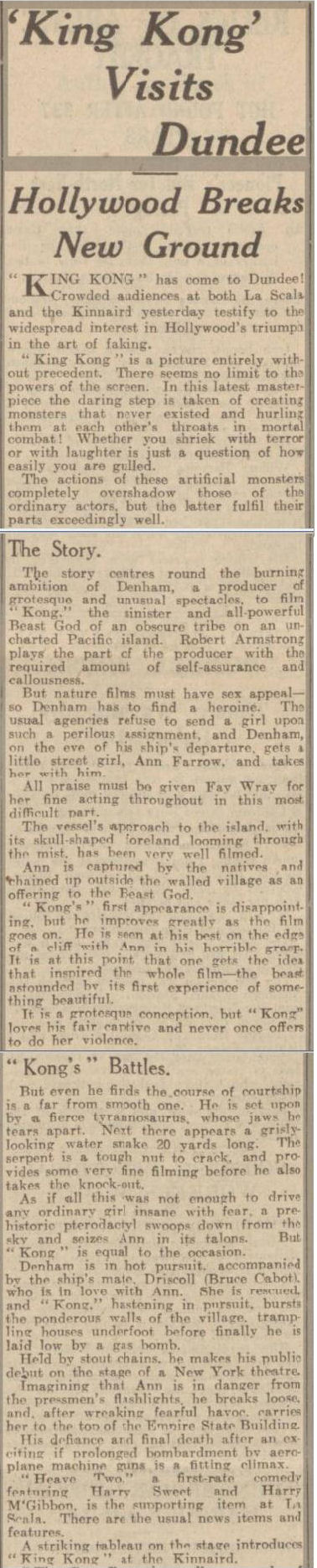 newspaper report about the premiere of king kong
