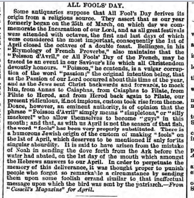 historical newspaper report about april fools  day